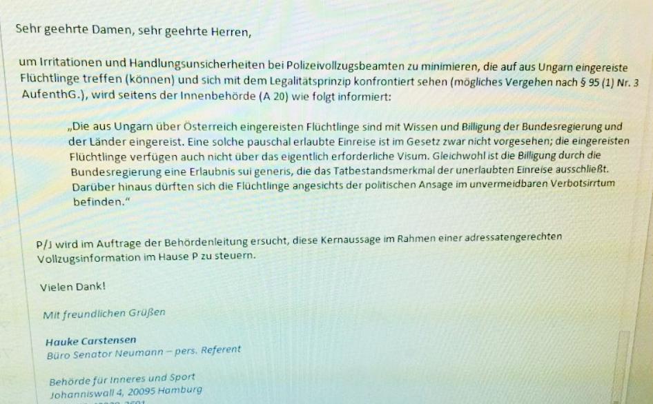 Hamburger Polizei wird schriftlich zur Strafvereitelung angewiesen ...